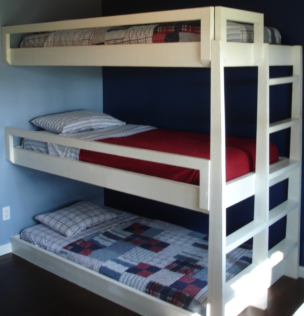 Triple bunk bed plans loft beds and bunk beds buying for Loft drawings