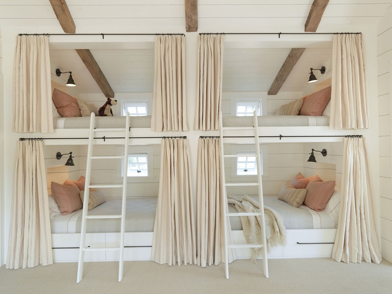 With Chic Bunk Bed And Built In Wooden Desk And Wall Shelves Bedro ...