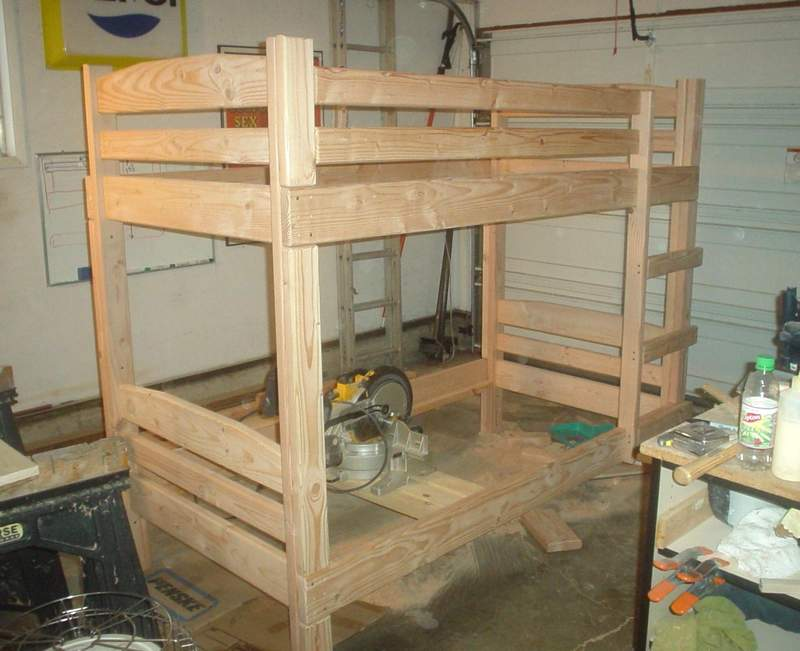 Bunk bed building plans bed plans diy blueprints for How to make a loft room