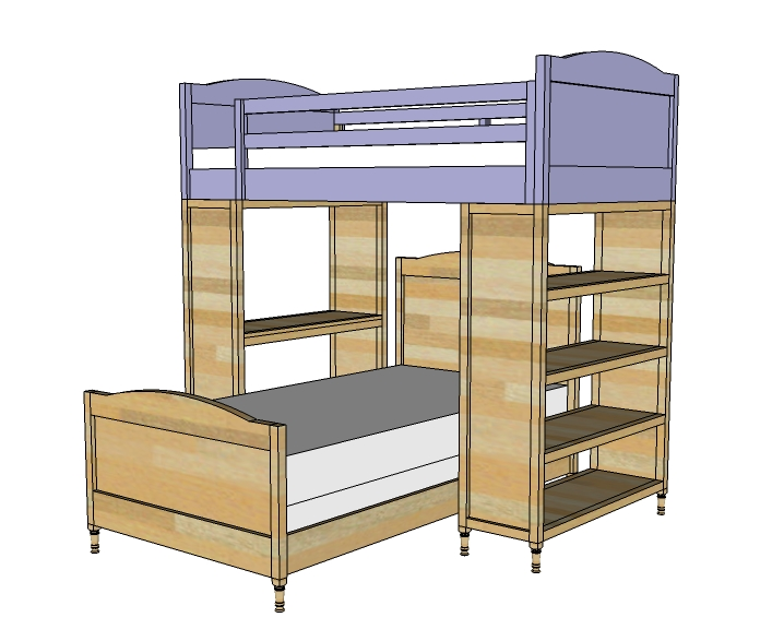 Bunk bed building plans bed plans diy blueprints for Bunk house plans