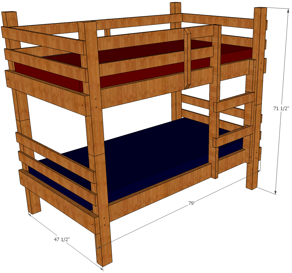 Bunk bed plans free bed plans diy blueprints for Loft drawings