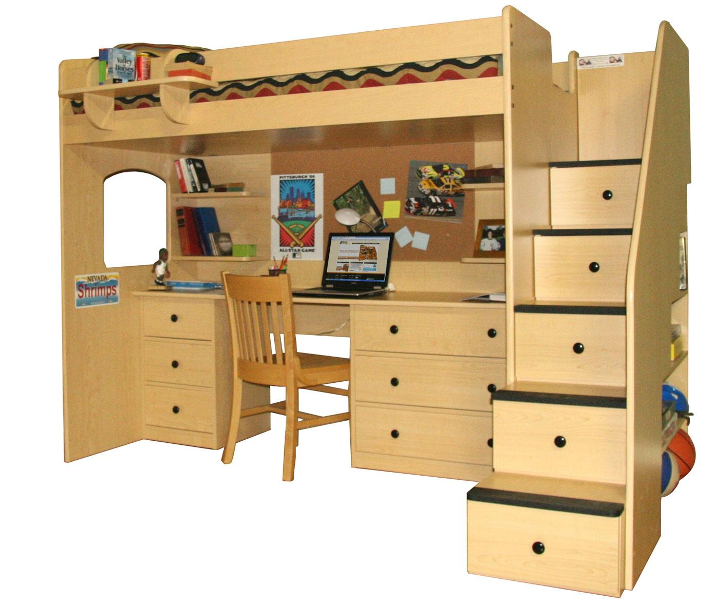 Twin over full loft bunk bed plans quick woodworking for Loft drawings
