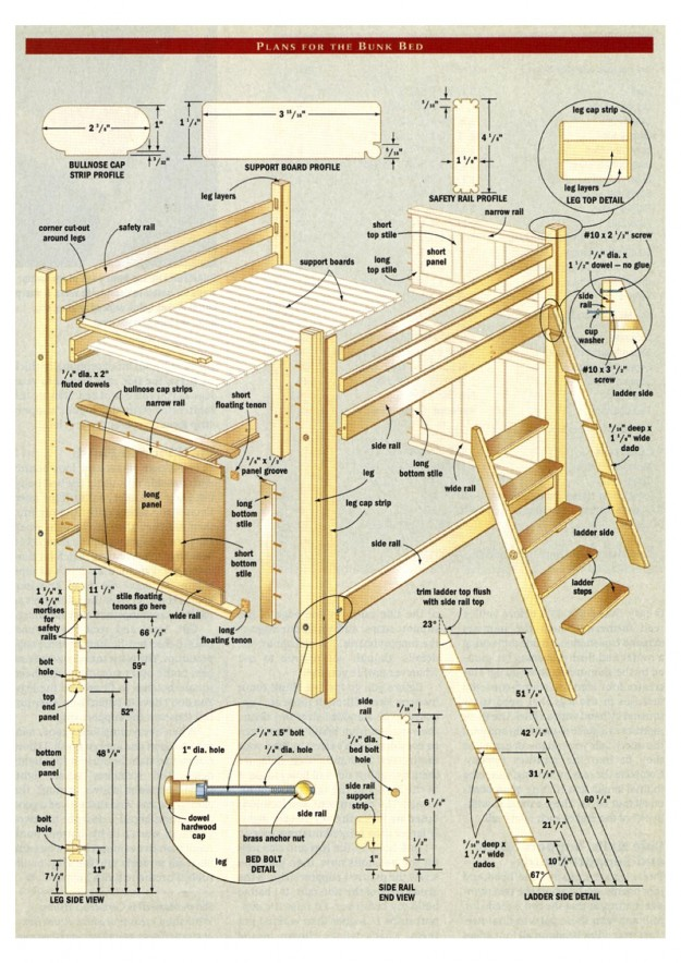 Bunk bed plans pdf bed plans diy blueprints Loft bed plans