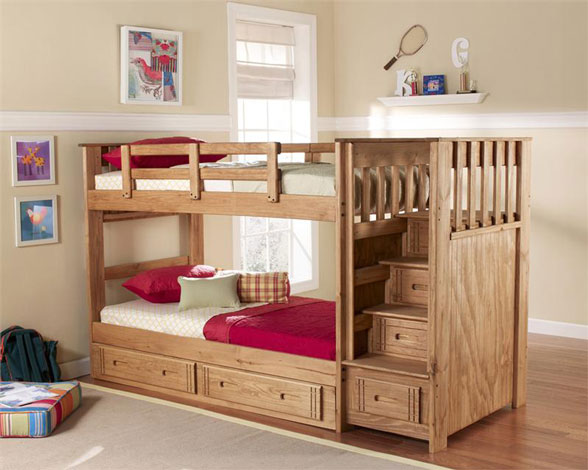 bunk bed with stairs woodworking plans