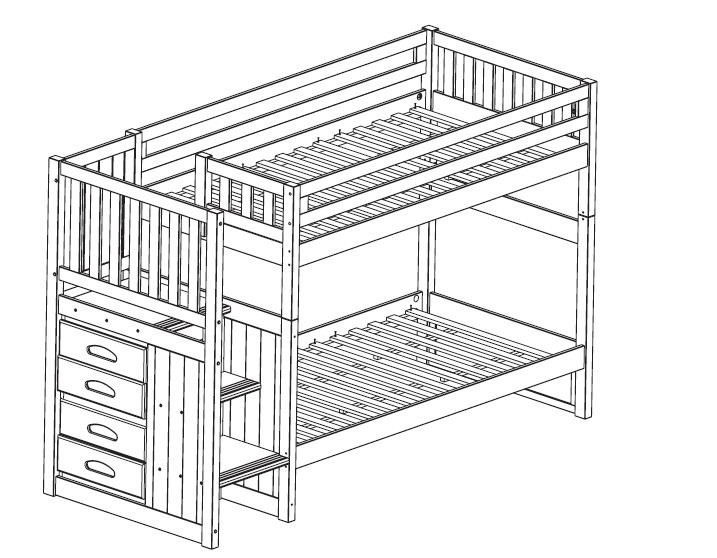 Pdf diy bunk bed plans stairway download building plans for Bunk house plans