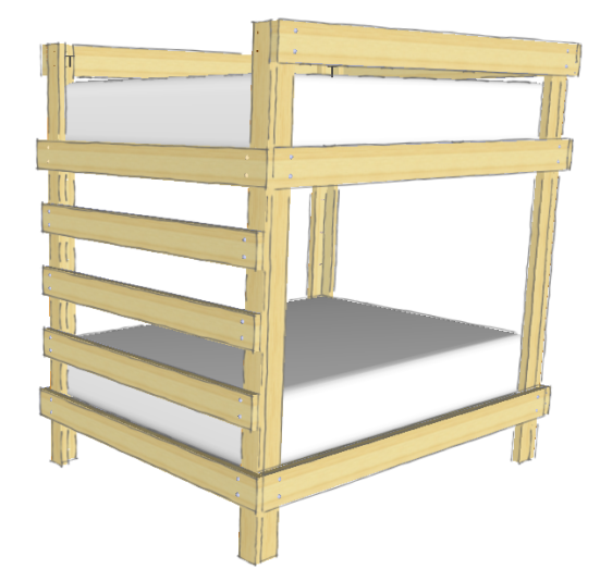 Diy double bunk bed plans pdf woodworking for Bunk bed woodworking plans