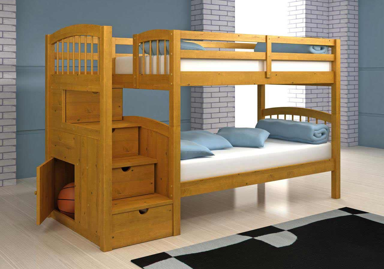 Wooden Bunk Beds With Steps And Functional Drawer - Golime.co