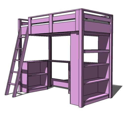 Loft Bed with Desk Plans