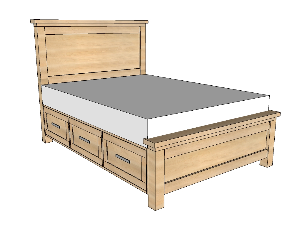 full size storage bed with drawers plans woodguides