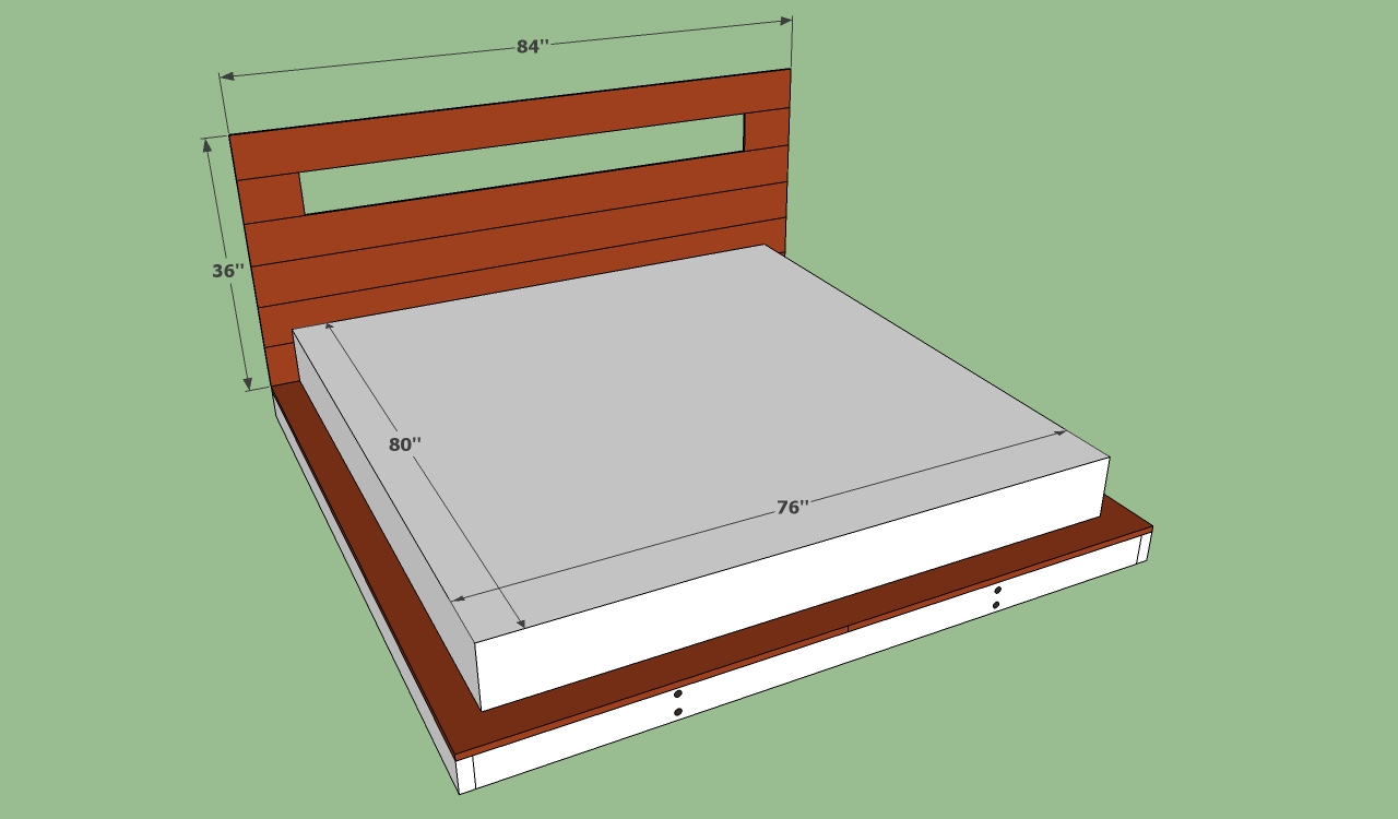 Homemade king size platform bed frame quick woodworking for King size bed frame and mattress