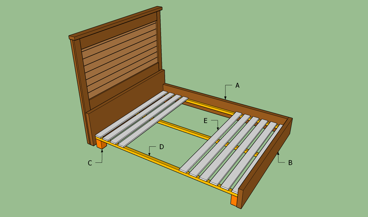 King size bed frame plans bed plans diy blueprints for Simple bed diy