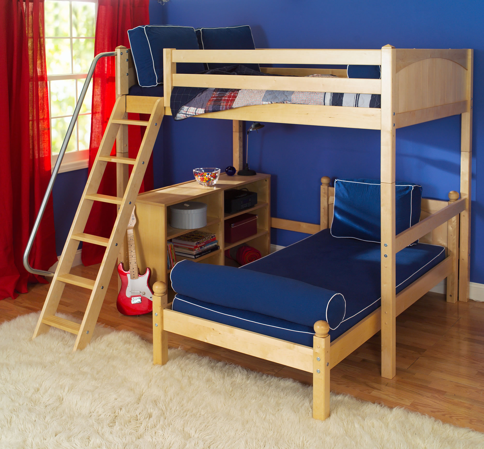L shaped bunk bed plans bed plans diy blueprints for Bunk bed woodworking plans