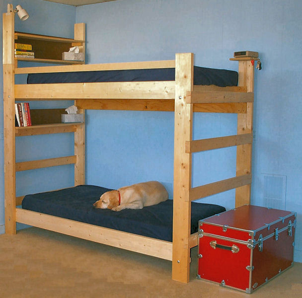 Loft bed building plans bed plans diy blueprints for Bunk house plans