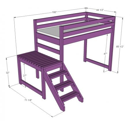 plans to build loft bed with stairs