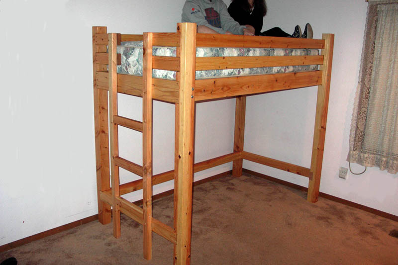 Loft bed woodworking plans bed plans diy blueprints for Bunk bed woodworking plans