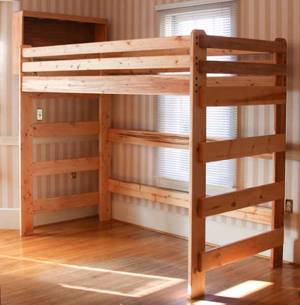 Free loft bed plans for college quick woodworking projects for Bunk bed woodworking plans