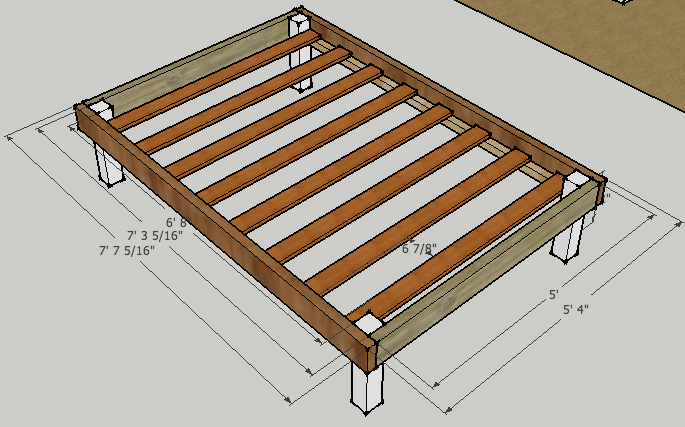 diy full bed frame plans woodguides