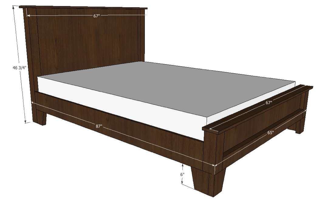 Queen bed plans bed plans diy blueprints for Bed frame plans