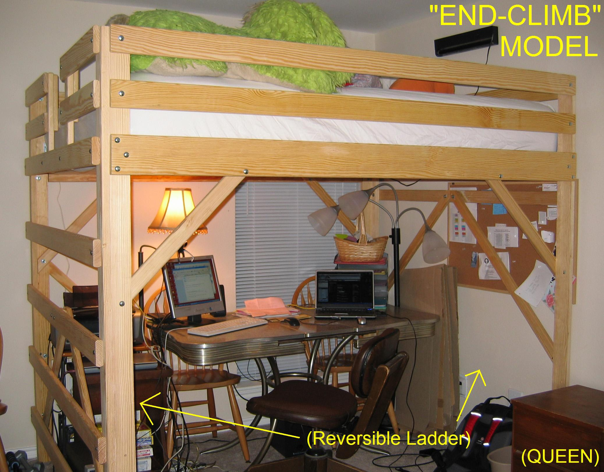 desk underneath plans queen loft bed plans - Free Loft Bed With Desk Plans