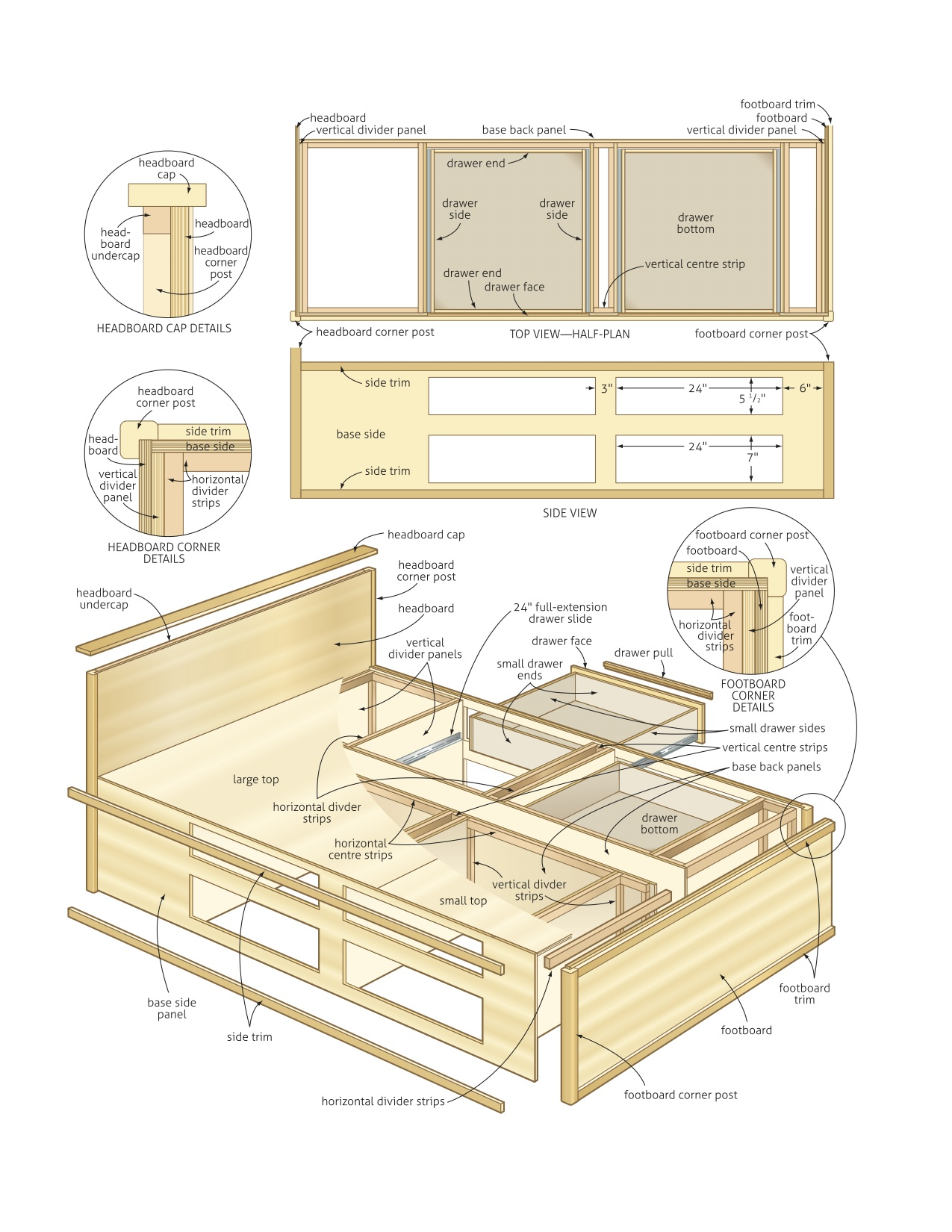 plans for a king size platform bed with drawers
