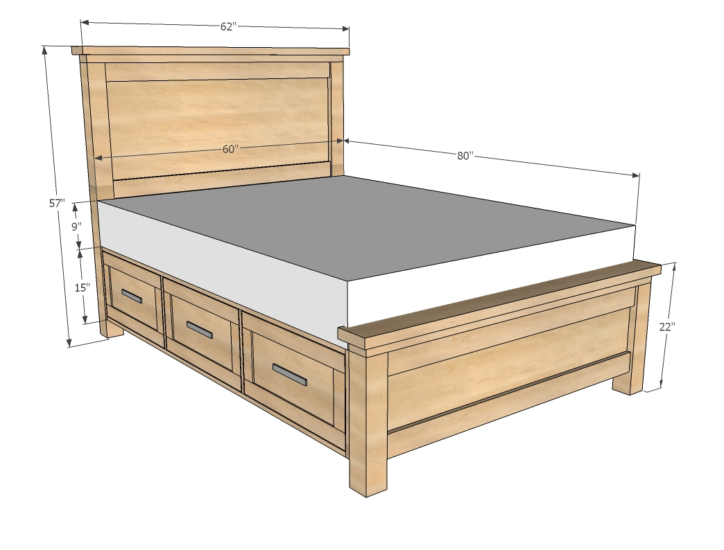Queen size bed frame plans bed plans diy blueprints Mattress queen size