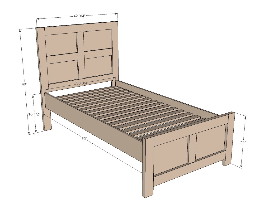 Twin bed frame plans bed plans diy blueprints for Frame plan