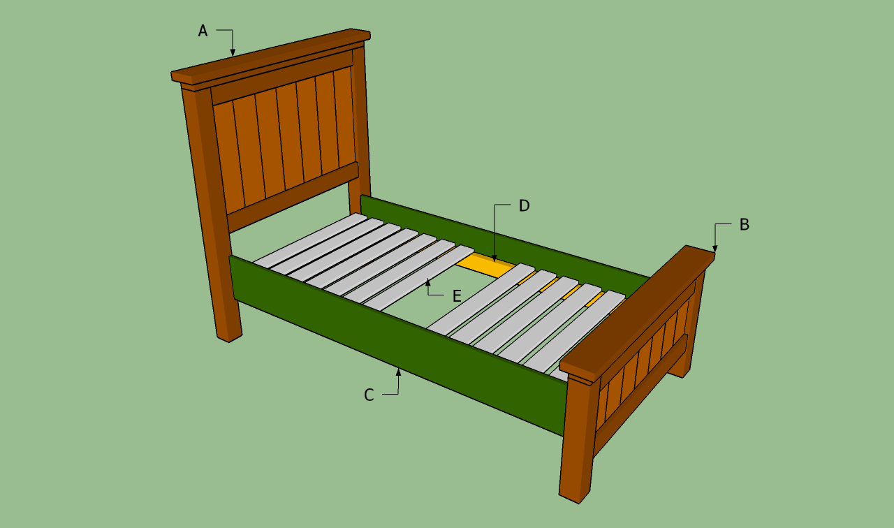 Twin bed frame plans bed plans diy blueprints for Twin bed frame