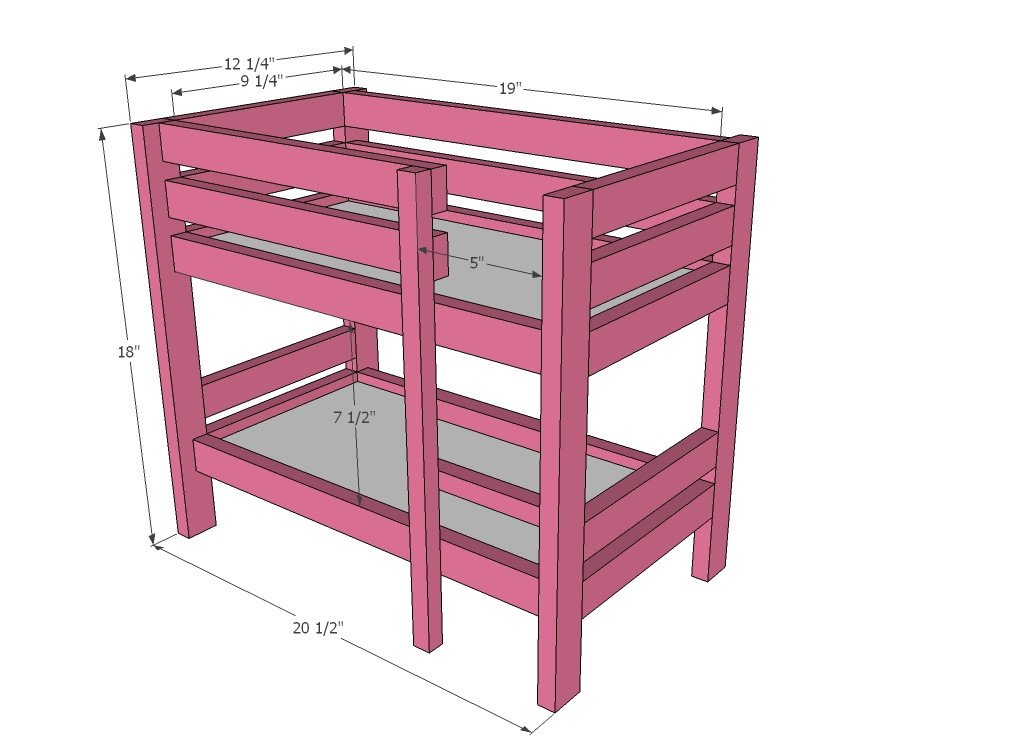download bunk bed plans 18 inch dolls pdf bunk bed plans ana white - Free Loft Bed With Desk Plans