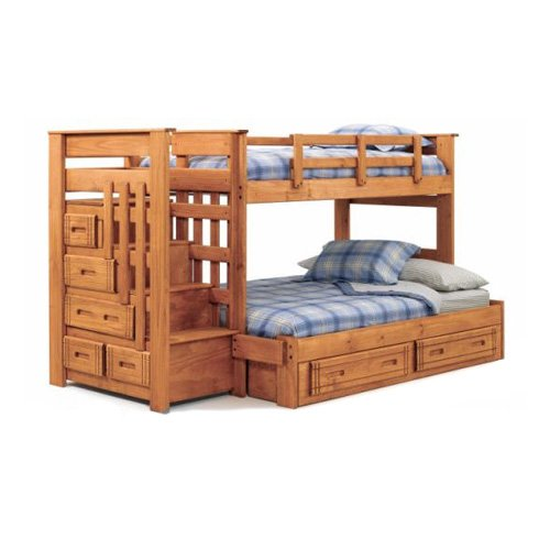 Bunk bed with stairs plans bed plans diy blueprints for Bunk bed woodworking plans