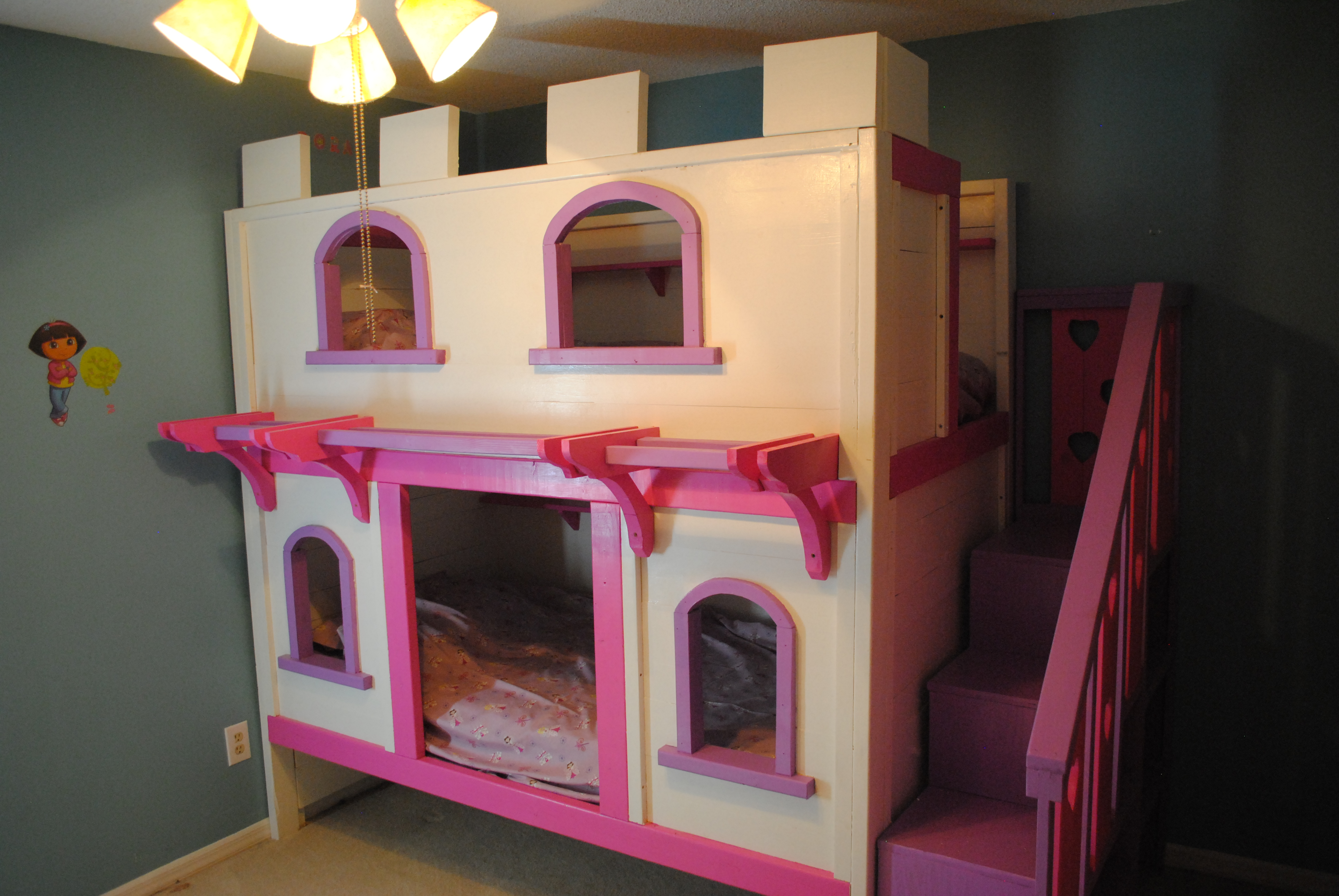 Jenny choice castle bunk bed building plans for Princess bed blueprints