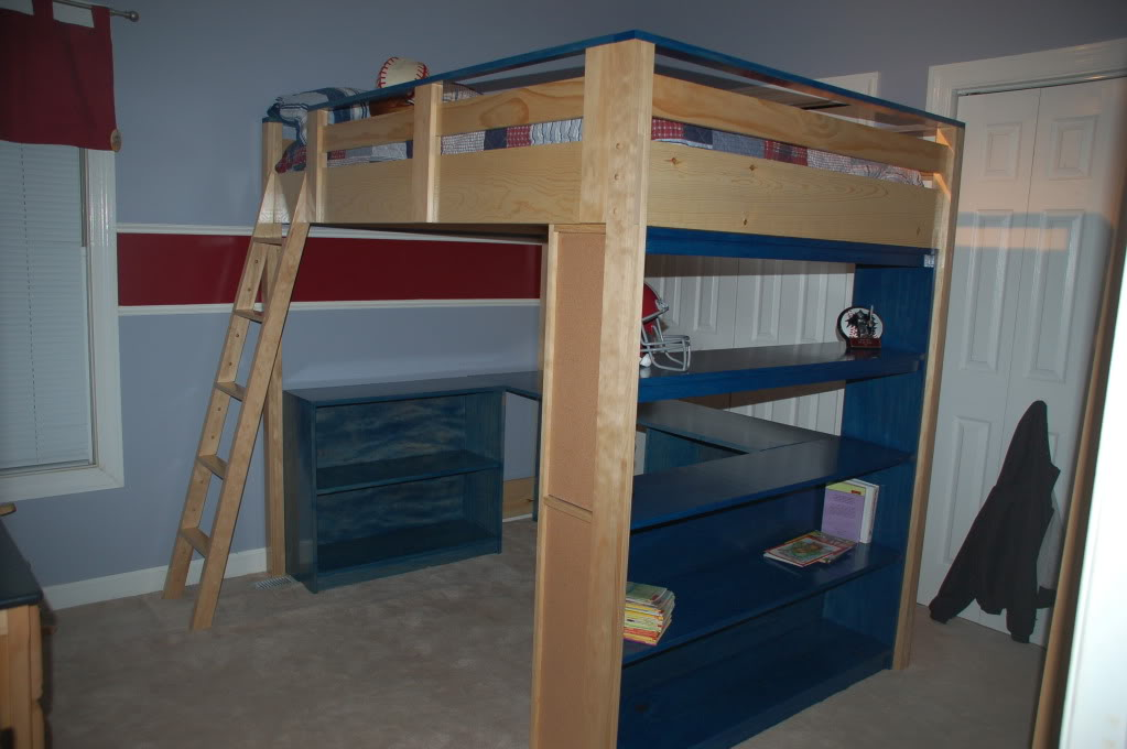 College loft bed plans bed plans diy blueprints for Loft drawings