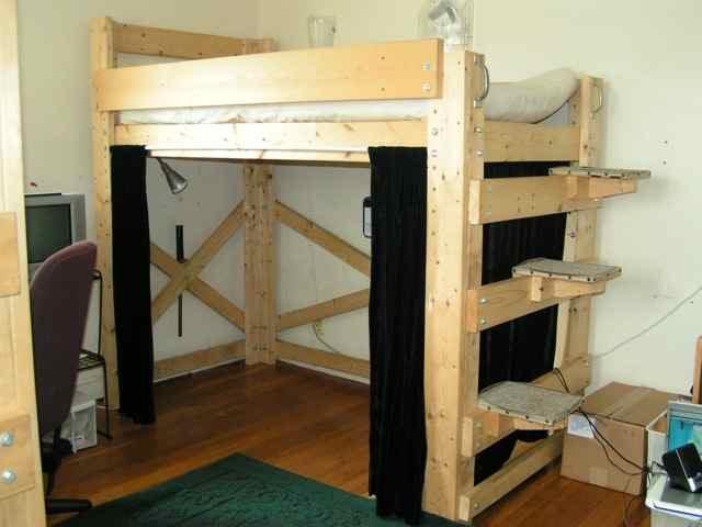 Loft bed plan bed plans diy blueprints for Bunk house building plans