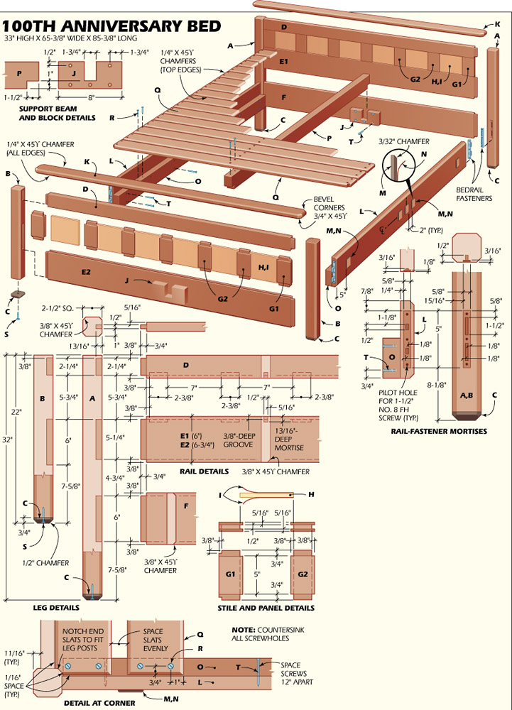 Woodworking bed plans bed plans diy blueprints for Arts and crafts bed plans